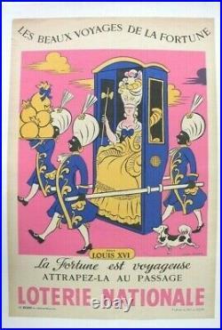 AFFICHE LOTERIE NATIONALE Lucien Boucher 1959 Chaise à Porteur Négrier Négritude
