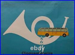 AFFICHE Litho ORIGINALE Cinquantenaire des Automobiles Postales SUISSE de 1956