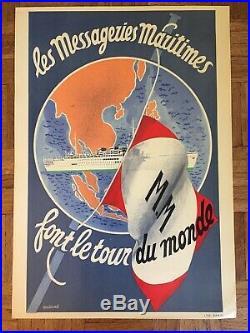 AFFICHE Messageries Maritimes De LOUIS ROBERT ANTRALE FRENCH VINTAGE POSTER