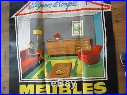 AFFICHE ORIGINAL 1950 MEUBLE VINTAGE DECORATION SCANDINAVE 113X155 ELEGANCE LOFT