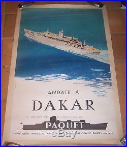 AFFICHE ORIGINAL CROISIERE PAQUET PAQUEBOT ANCERVILLE DAKAR CHAPELET 1962