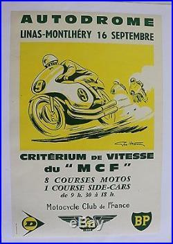 AFFICHE ORIGINAL Géo HAM poster Linas Montlhéry 16 sept MCF