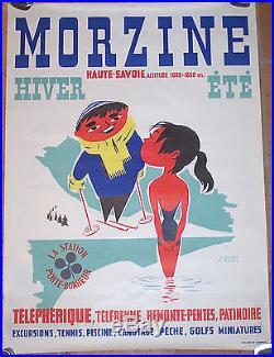 AFFICHE ORIGINAL SKI MONTAGNE HAUTE SAVOIE GOLFS MORZINE RIGHI CIRCA 1950