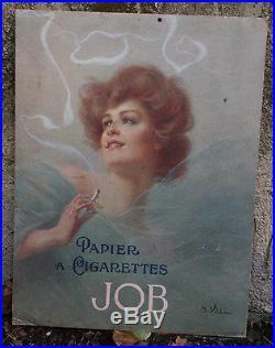 AFFICHE ORIGINALE 1903 Papier à Cigarettes JOB par A. VILLA PUBLICITE Carton