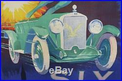AFFICHE ORIGINALE 1923 AUTO AVION MICHEL SIX STRASBOURG ICARE car poster
