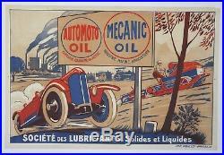 AFFICHE ORIGINALE 1930 AUTOMOTO MECANIC OIL CYCLECAR AGRICOLE LOCOMOBILE huile