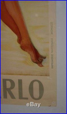 AFFICHE ORIGINALE 1950 MONTE-CARLO PIN UP COTE D'AZUR par Jean Gabriel DOMERGUE