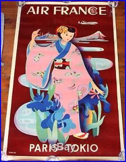 AFFICHE ORIGINALE 1952 AIR FRANCE PARIS TOKYO par TABUCHI voyages Avion