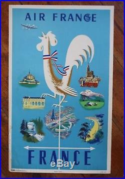 AFFICHE ORIGINALE AIR FRANCE 1950 COQ GAULOIS GIROUETTE & MONUMENTS Edition PEMA