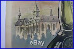 AFFICHE ORIGINALE ALPINE LIQUEUR ABBAYE MONTCHARDON ISERE chartreuse 38 ALPES