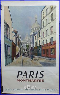 AFFICHE ORIGINALE ANCIENNE 1953 SNCF Paris Montmartre par Maurice Utrillo /PC1