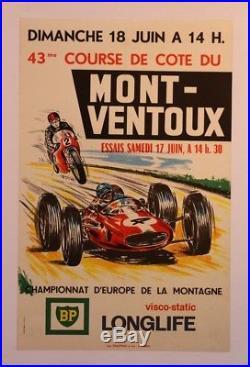 AFFICHE ORIGINALE ANCIENNE MONT VENTOUX 43 eme COURSE COTE BP 1967 car auto