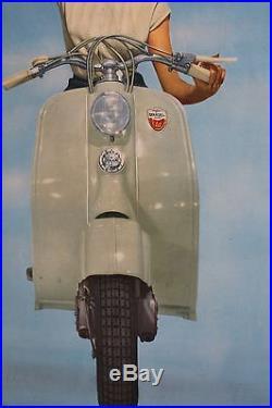 AFFICHE ORIGINALE ANCIENNE SCOOTER LAMBRETTA vespa scooter piaggio NOS