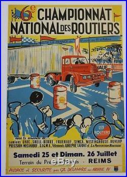 AFFICHE ORIGINALE CHAMPIONNAT LES relais ROUTIERS REIMS CAMION UNIC IZOARD 1957