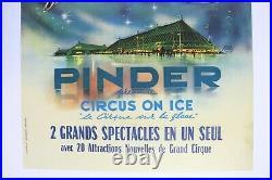 AFFICHE ORIGINALE CIRQUE PINDER ON ICE PATIN à GLACE signée RUDDY Assomption ZOO