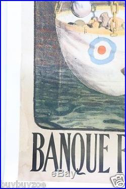 AFFICHE ORIGINALE EMPRUNT GAULOIS FRANC BALANCE COCARDE L. JONAS WW1 poster litho