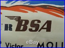 AFFICHE ORIGINALE GEO HAM BSA GOLD STAR VICTOR MOTO CROSS INTERNATIONAL PHIL-NEX