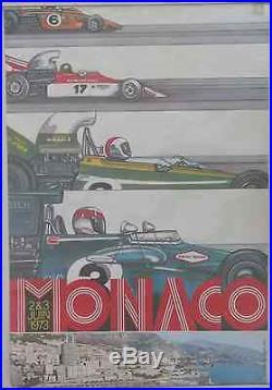 AFFICHE ORIGINALE GRAND PRIX MONACO 1973 RARE