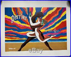 AFFICHE ORIGINALE POUR PERRIER Le Couple dansant de VILLEMOT 1980 60x48,4cm