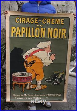 AFFICHE ORIGINALE Publicité 1900 CIRAGE CREME au PAPILLON NOIR par LOCHARD