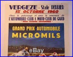 AFFICHE ORIGINALE TRINTIGNANT MAURICE Grand Prix MICROMIL VERGEZE GARD 1960
