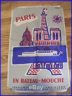 AFFICHE ORIGINALE VILLEMOT 1955 PARIS EN BATEAU MOUCHE