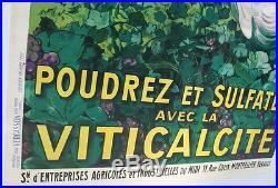 AFFICHE ORIGINALE VITICALCITE 1922 JEAN D'YLEN VERCASSON oenologie vin vigne