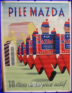 AFFICHE PILE MAZDA. 1939. FORMAT 120 X 160 CM. ENVOIE SOUS TUBE
