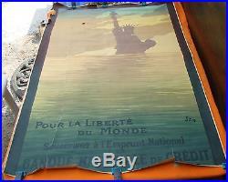 AFFICHE POUR LA LIBERTE DU MONDE 1918 ill. SEM GUERRE 1914 1918 Original
