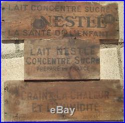 AFFICHE PUBLICITAIRE ancien plaque bois cagette pub publicite LAIT NESTLE planch
