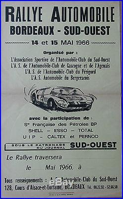 AFFICHE. RALLYE AUTOMOBILE BORDEAUX SUD OUEST. 1966. FORMAT 27 X 44 CM
