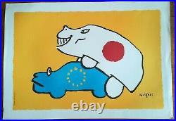 AFFICHE SAVIGNAC Japon Europe papier épais