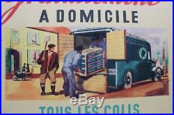AFFICHE SNCF 1947 TRACTEUR semi remorque FAR F. A. R. Camion scammel scarab poster