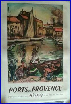 AFFICHE SNCF Ports de Provence OTHON FRIESZ 1949
