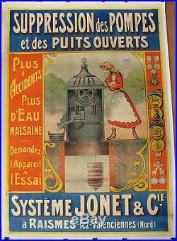 AFFICHE SYSTEME JONET. ENTOILEE. FORMAT 162 X 115 CM. ENVOIE SOUS TUBE