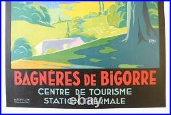 AFFICHE TOURISME Bagnères de Bigorre 65 Hautes Pyrénées Chemins Fer Midi DABO