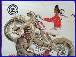 AFFICHE VINTAGE ORIGINALE / MOTO JAWA 250 / Tchécoslovaquie Moto ancienne (#2)