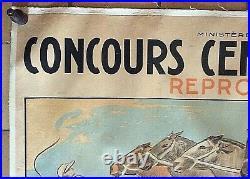 AFFICHE ancienne PUB Concours Central hippique reproducteurs Circa 1920
