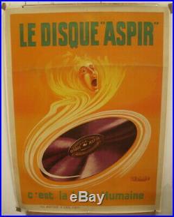 AFFICHE ancienne de PUBLICITE Le Disque Aspir c'est la voix humaine Circa 1910