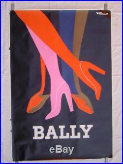 AFFICHE lithographie 120 x 160 cm BALLY / illustration VILLEMOT