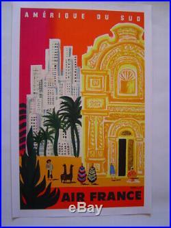 AFFICHE original lithographie entoilée AIR FRANCE / AMERIQUE DU SUD / VILLEMOT