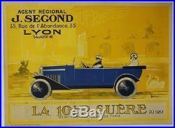 AFFICHE original poster automobile car SUERE PARIS LYON Segond VAILLANT 1930