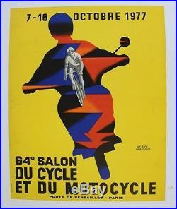 AFFICHE originale 64e SALON CYCLE & MOTO PARIS OCT 1977 Hervé MORVAN