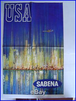 AFFICHE originale SABENA BELGIAN WORLD AIRLINES USA NEW YORK 1966