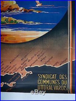 AFFICHE originale SNCF COTE D AZUR VAROISE MORERA Var publicité publicitaire PUB
