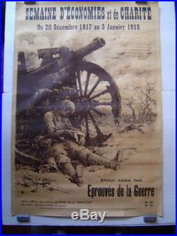 AFFICHE originale lithographie EMPRUNT BANQUE CREDIT / BARBIER 1914 1918