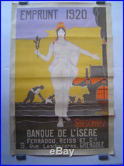 AFFICHE originale lithographie EMPRUNT BANQUE de l' ISERE / LE CORNEC 1920