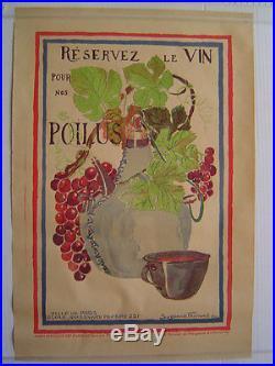 AFFICHE originale lithographie VIN pour nos POILUS / FERRAND 1914 1918