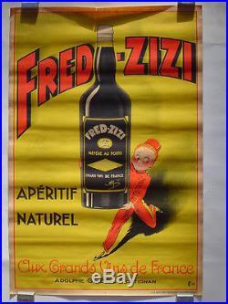 AFFICHE originale lithographie VINS DE FRANCE FRED ZIZI FRONTIGNAN 1932