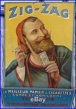 AFFICHE publicitaire ZIG ZAG LE ZOUAVE PAPIER A CIGARETTE 1930 range-courrier